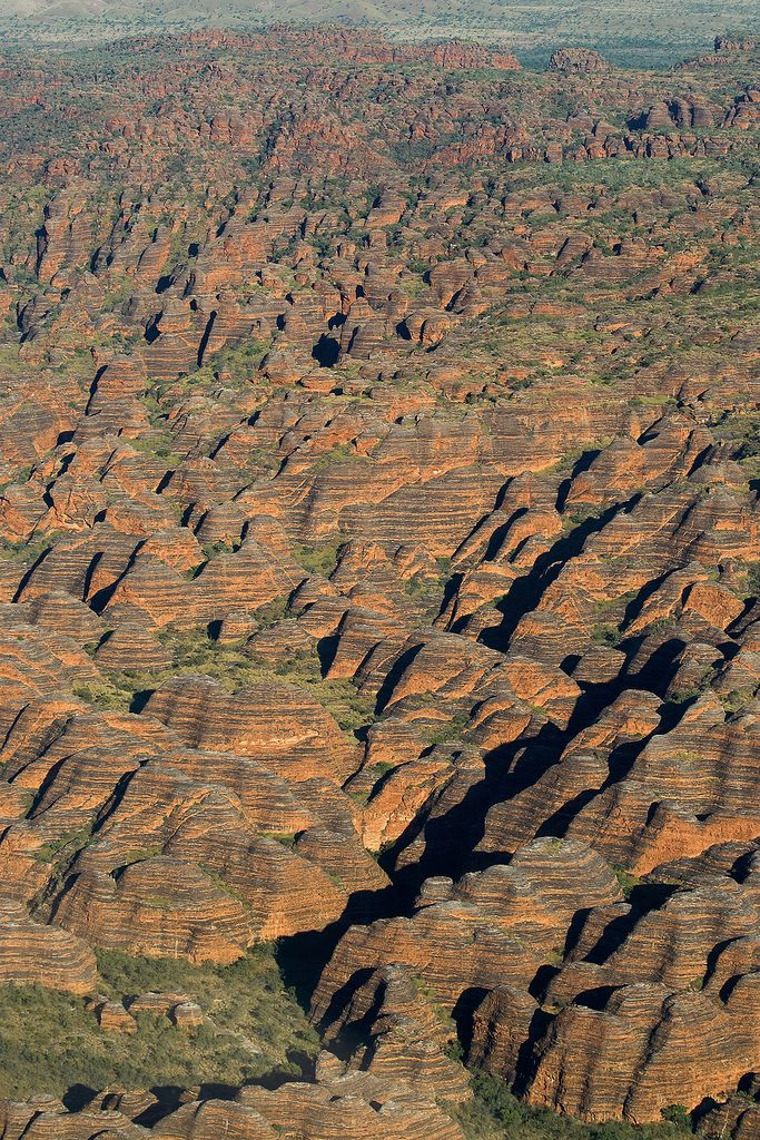 Spectacular aerial view of the Bungle Bungles in Purnululu National Park of Western Australia's Kimberley region.