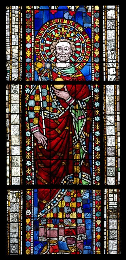 Gothic stained glass depiction of Lothair I, Holy Roman Emperor; Cathedral of Our Lady of Strasbourg, France