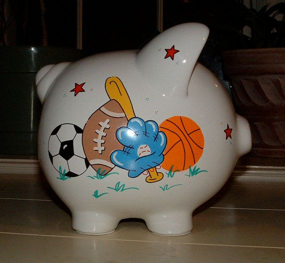 Personalized boys sports piggy bank large by personalizedbydina crafty ideas - Coin banks for boys ...