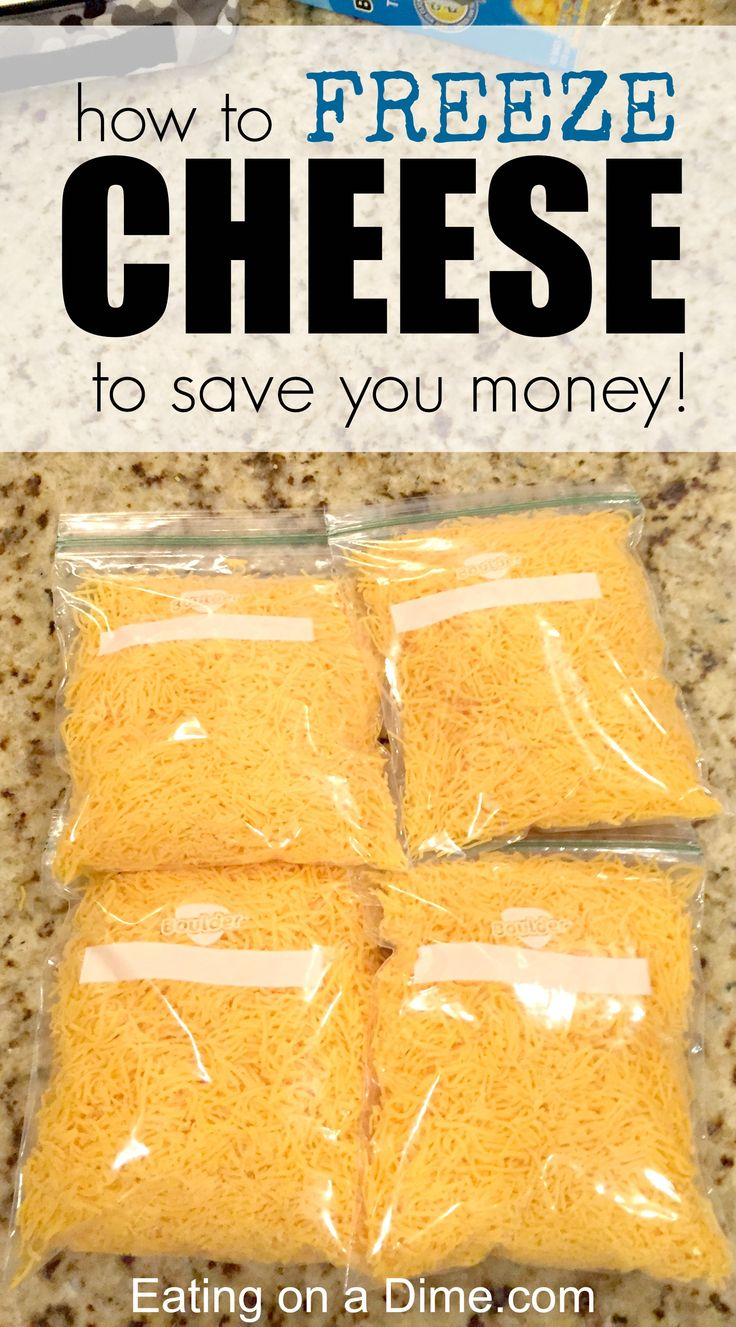 Freezing Cheese.  Cheese freezes great and freezing cheese is an easy way to save money. I stock up on it when it is cheap and freeze it.  Here is a DIY tutorial on how you can freeze cheese!