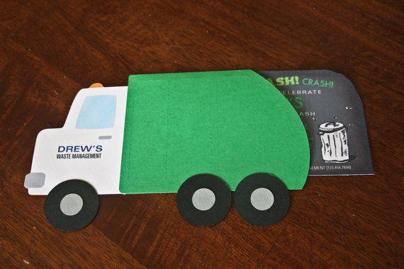 Garbage Truck Birthday Invitation Die Cut By TheDesignPackage