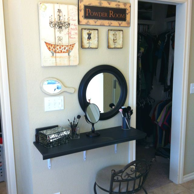 Small Makeup Vanity Table Part - 45: A Staircase Riser Painted Black As A Tabletop, Three Metal Brackets, And A  Round Mirror. Instant Vanity For A Small Space.