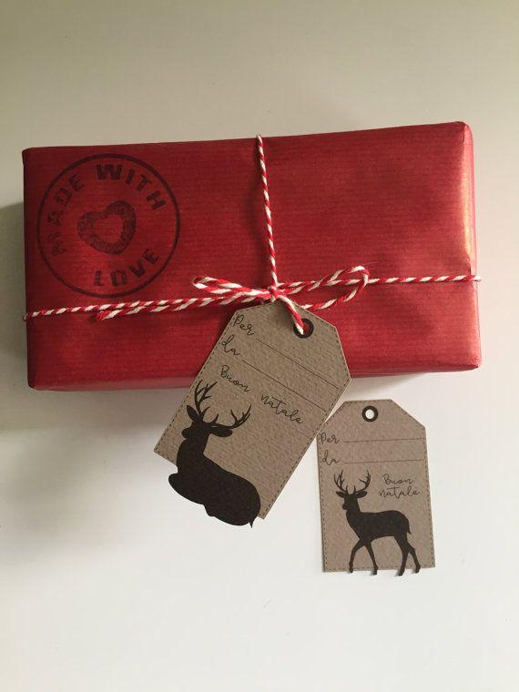 """10 Christmas Tag su carta Kraft """"Black Deer"""" di LaMammaCreativa su Etsy"""