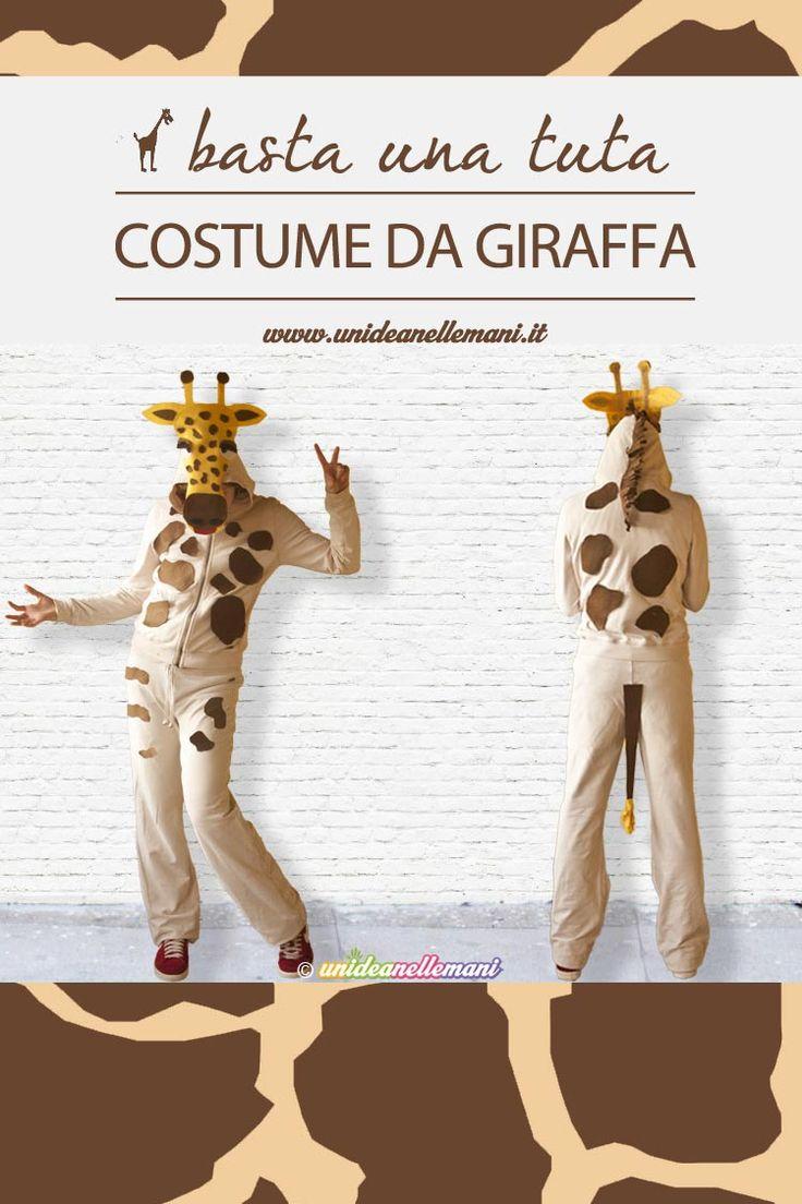 Tutorial per fare un costume da giraffa utilizzando una semplice tuta da ginnastica e sagome di pannolenci. Adatta a tutti anche senza saper cucire.