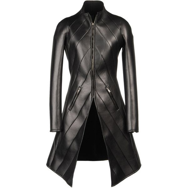 Leather outerwear (£4,335) ❤ liked on Polyvore featuring outerwear, coats, jackets, coats & jackets, women, leather coats, gareth pugh, zip coat, genuine leather coat and real leather coats