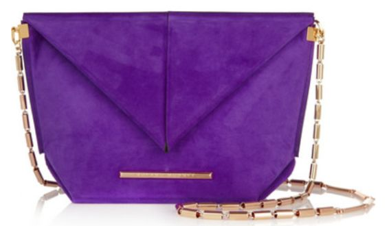 Sac porté épaule en daim violet, Roland Mouret