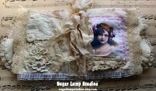 fabric lace book by Sugar Lump Studios - Rose Garden Vintage Fabric Journal