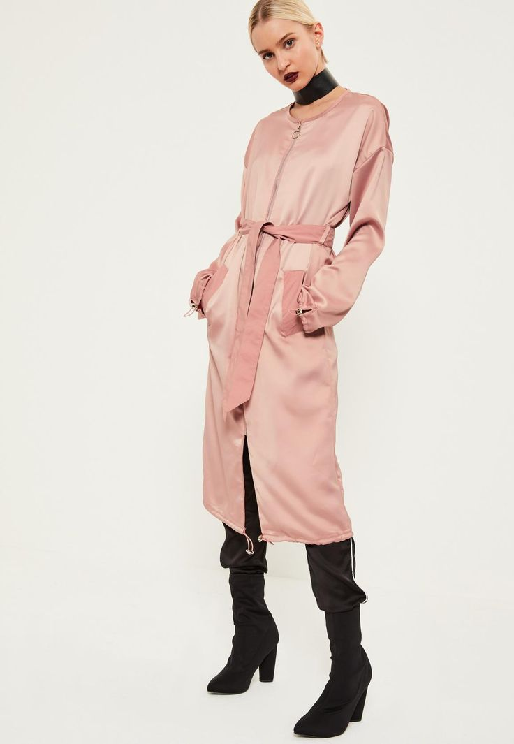 Missguided - Pink Utility Silky Duster Coat