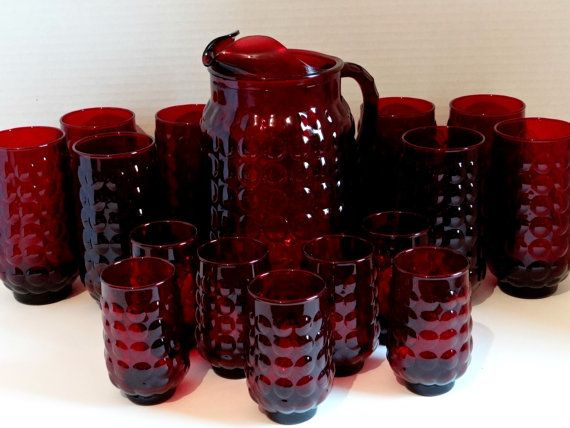Anchor Hocking Ruby Red Provincial Bubble Pitcher with Ice Lip and 15 Glasses Set, 1960s Vintage Formal Holiday Kitchenware, Wedding Bridal
