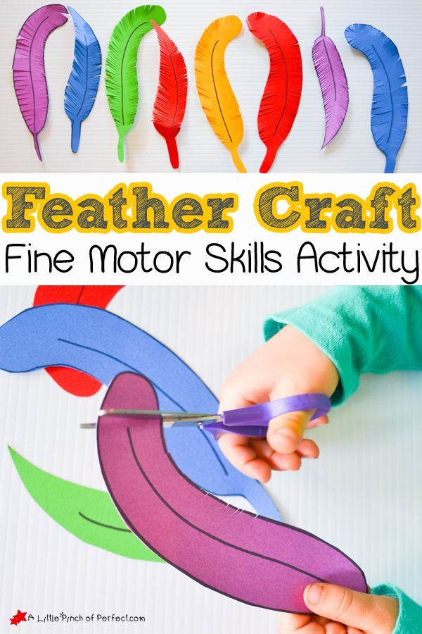 Fine motor skills activity: Paper Feather Craft and Scissor Practice for Kids