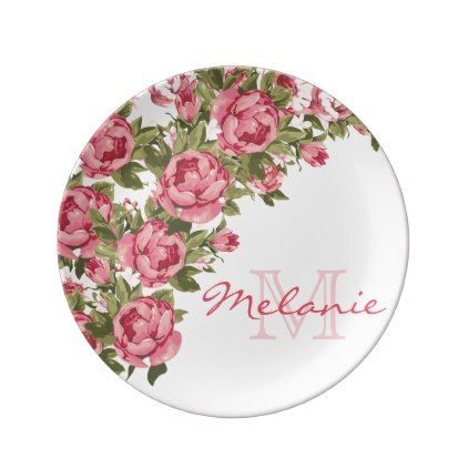 Vintage blush pink roses Peonies name monogram Dinner Plate - girly gift gifts ideas cyo diy special unique