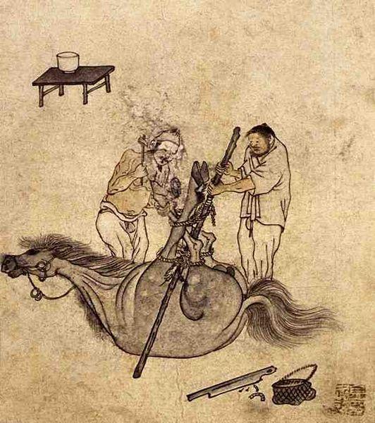 (Korea) Shoeing the Horse by Danwon Kim Hong-do (1745-1806). ca 18th century CE. Joseon Kingdom, Korea.