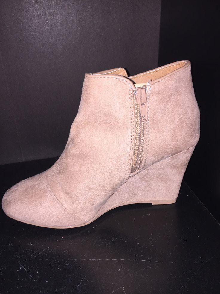 Taupe Suede Wedge Booties