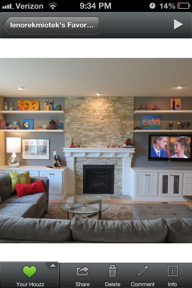 Use this lay out for basement room- TV (where f/p is shown) in center, toy shelves on either side (store in sea grass baskets to look nice), couch at foot of bed?