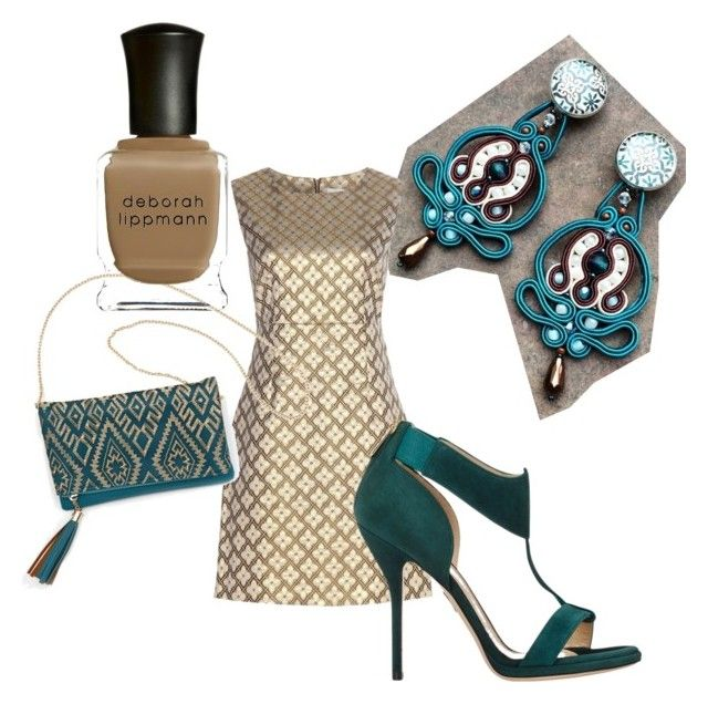 teal party by galeriamagia on Polyvore featuring moda, Diane Von Furstenberg, Paul Andrew, Patchington and Deborah Lippmann