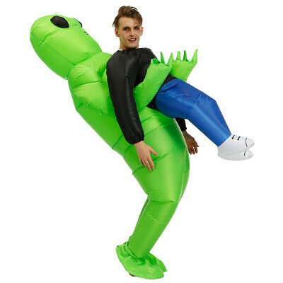 Inflatable Green Alien Costume Adults Kid Pick Up Monster Halloween Blow Up Suit…
