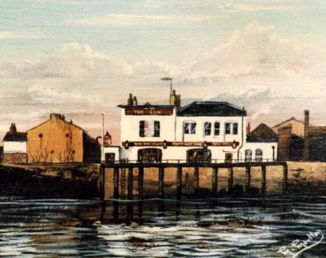 """Mackenzie Moulton's 1984 """"Gun Public House, Isle of Dogs"""". A wonderful pub in a wonderful location."""