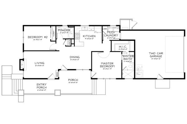 Craftsman Style House Plan - 2 Beds 2 Baths 1098 Sq/Ft Plan #895-13 Floor Plan - Main Floor Plan - Houseplans.com