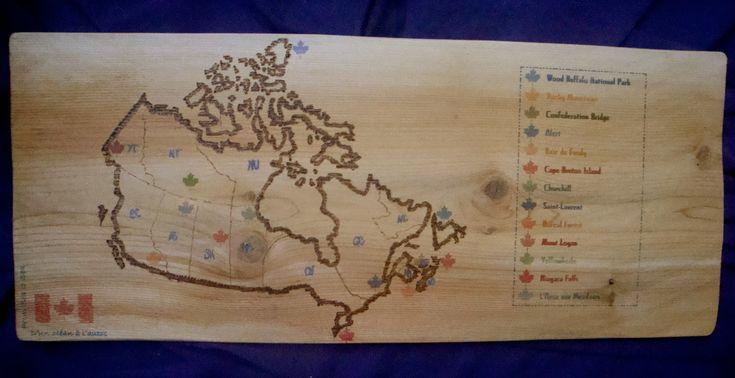 Carte du Canada - Panneau décoratif en bois   Matda Créations