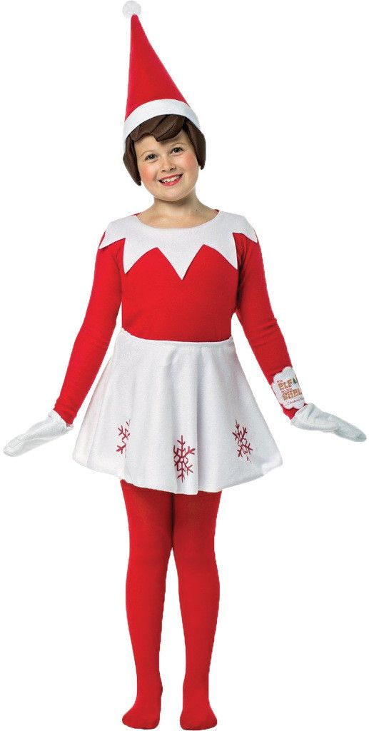 Girl's Costume: Elf on A Shelf GirlFrom the beloved storybook Elf on a Shelf comes this cute Scout Elf costume! Includes the shirt, skirt, mittens, and hat with attached cloth hair. Add your own tight