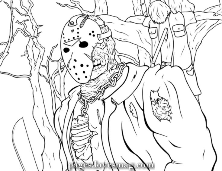 Charismatic Jason Coloring Pages Friday The 13th Coloring Friday