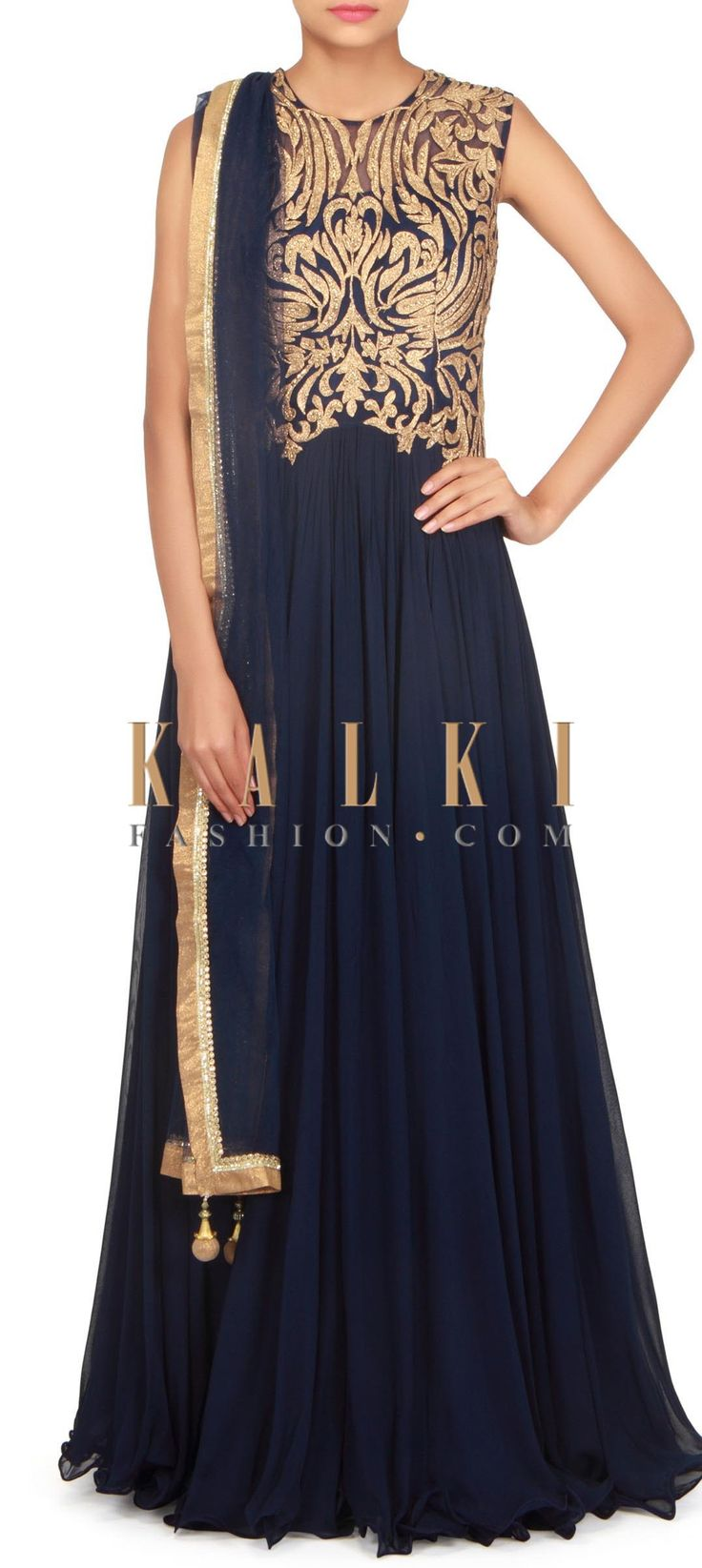 Navy blue gown adorn in zari and kundan only on Kalki