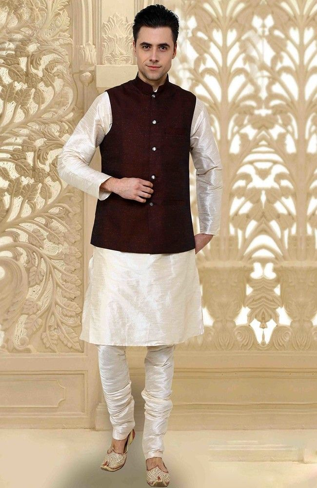 Dashing Off White Kurta Pyjama Set With Jacket Indian Mens Wear
