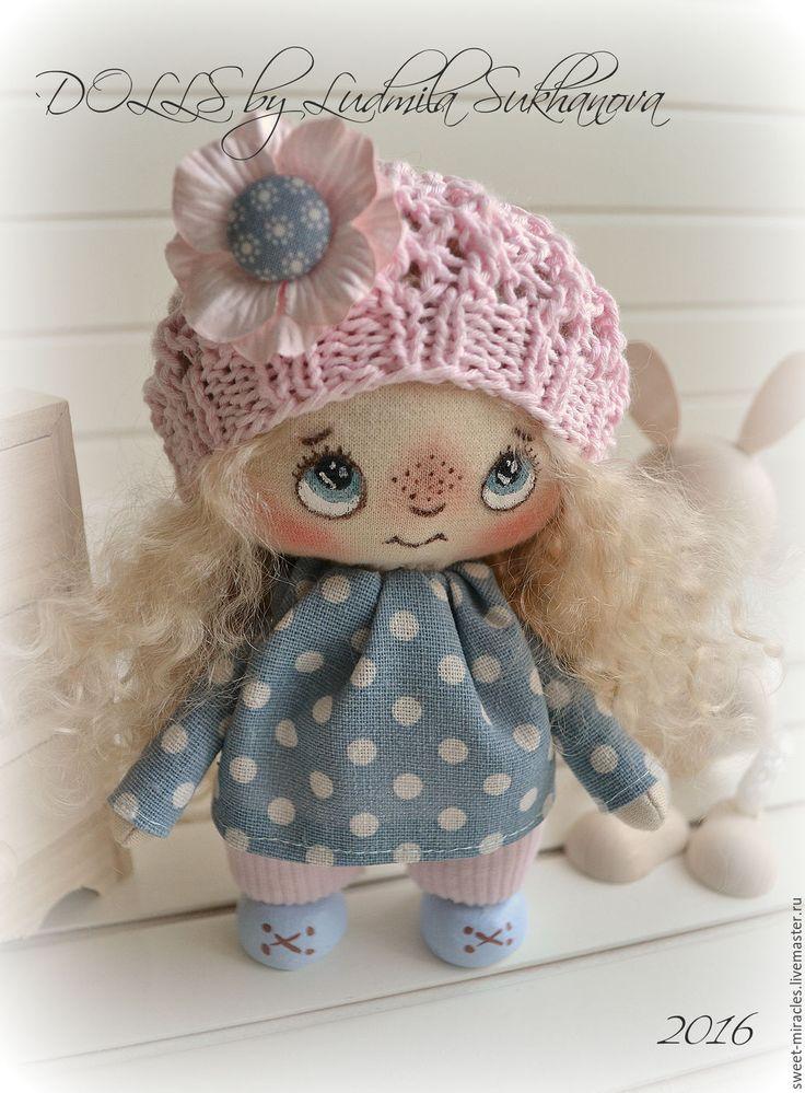 Купить Кукла Домовушка - бледно-розовый, синий, куколка, кукла ручной работы, кукла в подарок