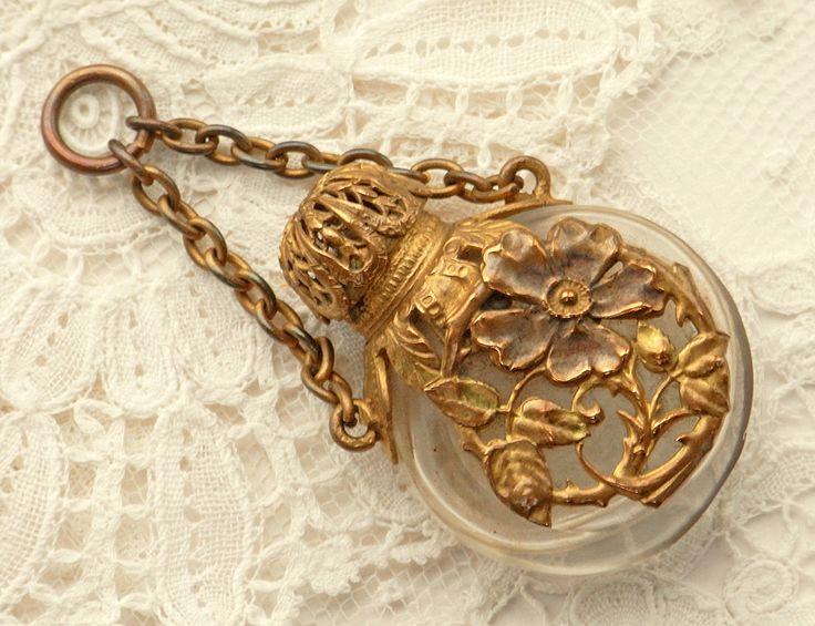Antique Chatelaine Perfume Bottle Brass 1890 - 1910