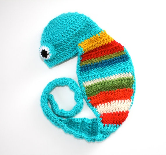 PHOTO PROP  Chameleon Baby Hat  size newborn by AleksandraNagrant, $28.00