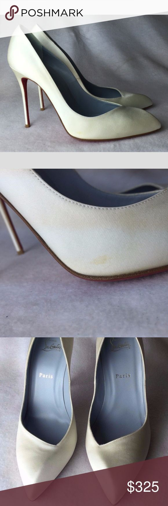 """FLASH SALE⚡️NO OFFERS⛔ Louboutin Corneille 39.5 Never worn, but have one small yellow spot on the side of one shoe. Not visible in wear at all.  Some dents / scuffs on the bottoms from trying ons. Come with original dust bag only, NO box and extra taps. No receipt is kept.  Heel is 4.33"""" Insole is 10.23""""  Please note, that European designer shoes typically run smaller then US designers. You should know your size in the particular designer's shoes before making a purchase. Christian Louboutin…"""