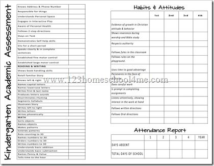 This is a Homeschool Report Card.  It has some good ideas for assessment areas.