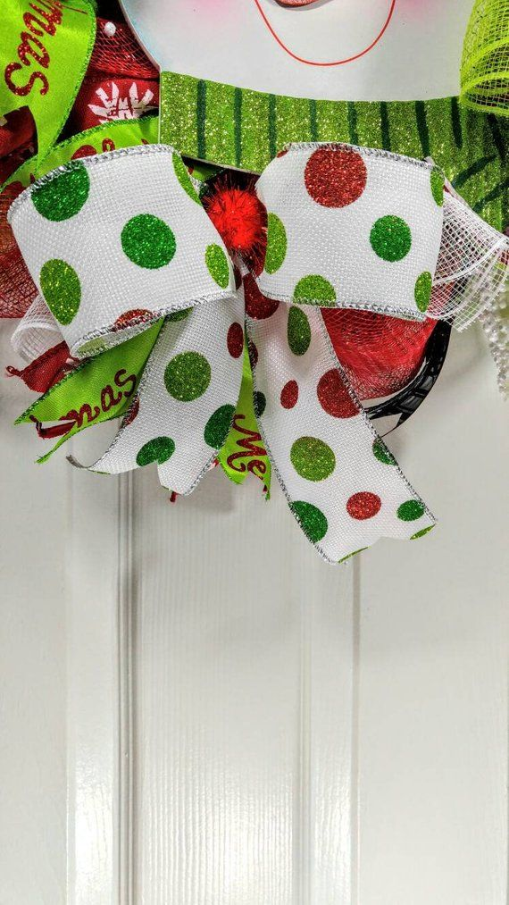 Snowman Christmas wreath, holiday wreath, winter wreath, deco mesh