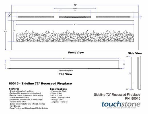 "Electric Fireplace - Touchstone The Sideline™ 72""- Recessed Electric Fireplace (#80015)"