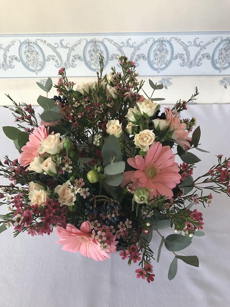 pastel pink flowers basket; baby girl party centerpiece by Atelier Floristic Aleksandra concept Alexandra Crisan