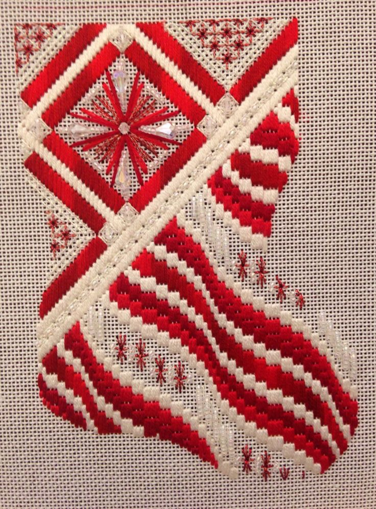 ANG - Chapter project book Designed by Pat Mazu In Red -Stitched by Lin Jacoby, bargello needlepoint