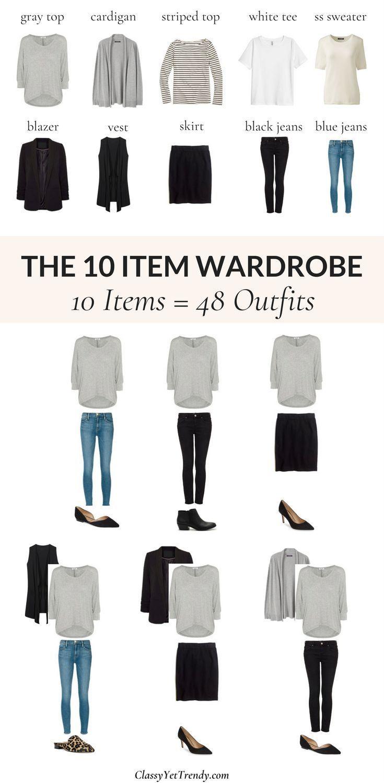 Der 10-teilige Kleiderschrank (für 48 Outfits) TW # 132