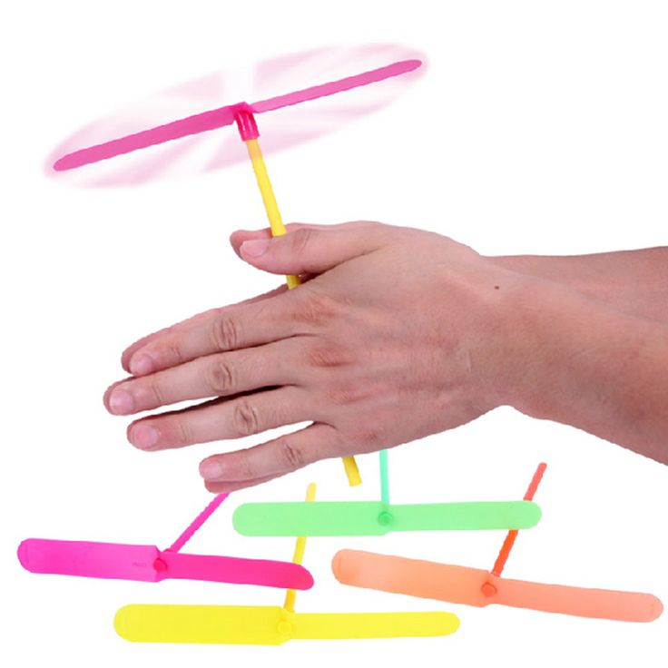 10 Pcs/lot Plastic Helicopter Bamboo Dragonfly Flying Traditional  Baby Game Spiral Arrows Gags & Practical Jokes TY0156