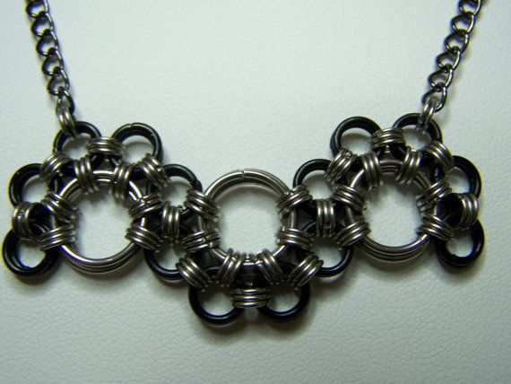 Chainmaille Black and Stainless Steel Serpentine by AluriansForge, $15.00