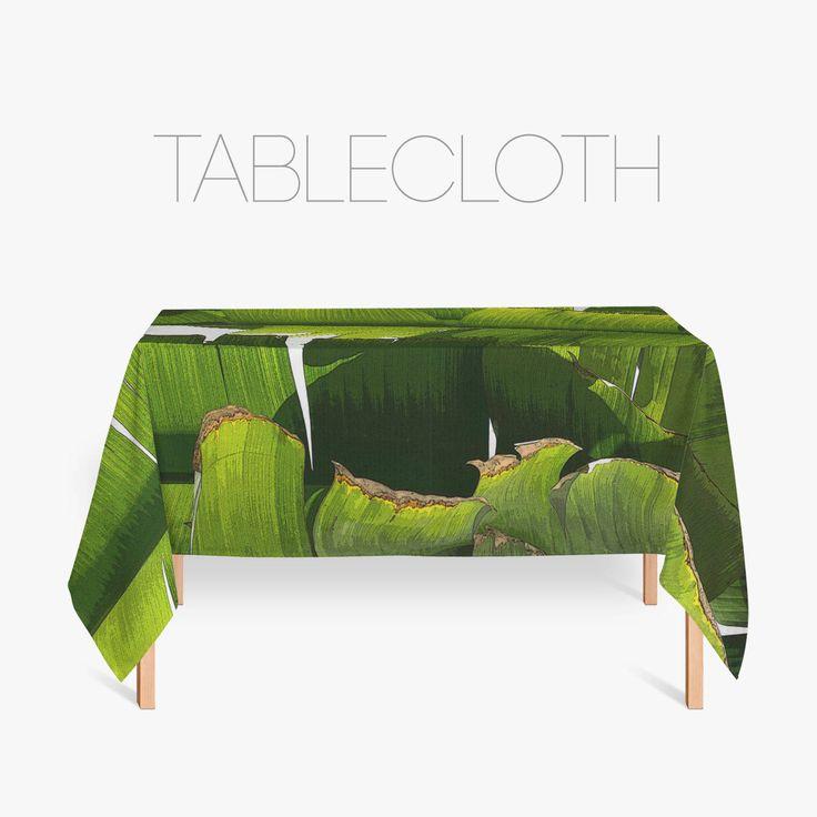 Banana Leaf Kitchen Tablecloth, Fabric Tablecloths, Tropical Decoration, Kitchen Decor, Tropical Tablecloth by Macrografiks on Etsy
