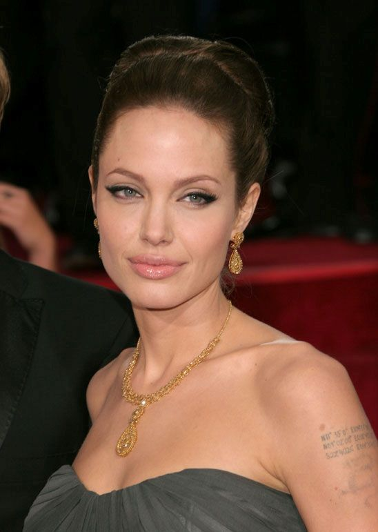Angelina Jolie makeup, gray dress