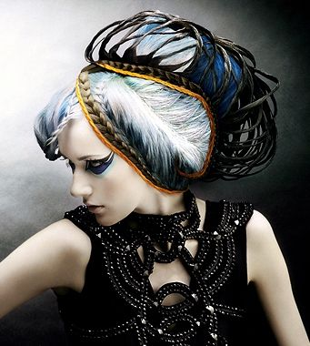 long blonde straight coloured weird avant garde updo Multi Ton Womens hairstyles for women http://janelistyle.com