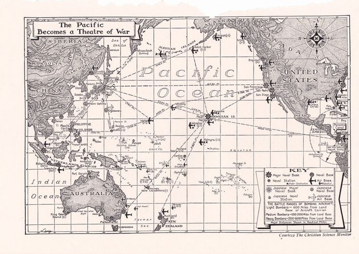 old map of the Pacific Ocean during World War II  Old Maps