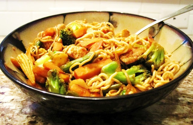 Shiritaki Noodle Stir Fry - finally a recipe for one..no math involved in this   :-)