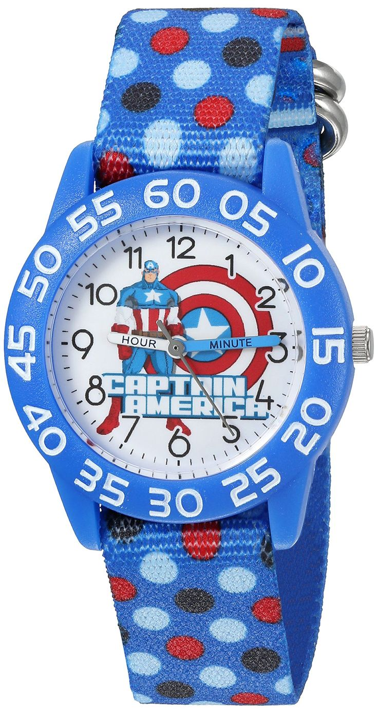 Marvel Boy's 'Captain America' Quartz Plastic and Nylon Automatic Watch, Color:Blue (Model: W003213). Meets or exceeds all US Government requirements and regulations for Kid's watches. 1 year limited manufacturer's warranty. Analog-quartz Movement. Case Diameter: 32mm. Water Resistant To 30m (100ft): In General, Withstands Splashes or Brief Immersion In Water, but not Suitable for Swimming or Bathing.