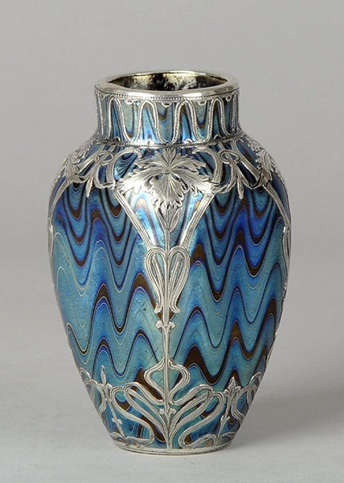 ❤ - Loetz   Blue Silvered Vase - 1900.
