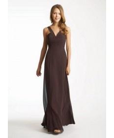 long Brown V Neck A Line Evening Dresses