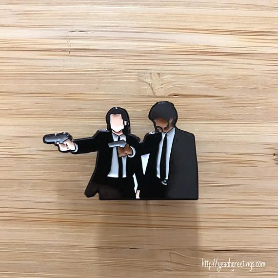 Pulp Fiction Enamel Pin, Pulp Fiction Jewelry, Pop Culture Pins, Cute Lapel Pins, Quentin Tarantino, Pulp Fiction Gift, Vincent and Jules