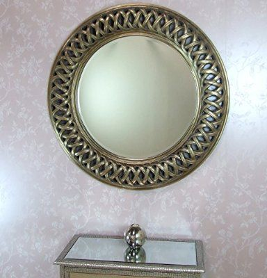 Venice Large Round New Wall Mirror Modern Champagne Silver Frame Art Deco Antique 44in (3ft8in) Diameter