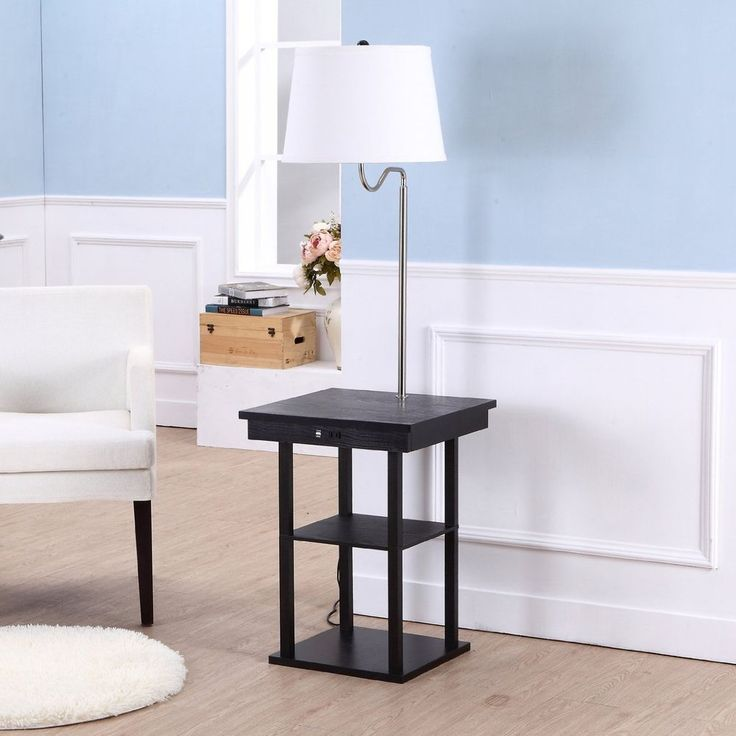 End Table With Lamp Built In Attached With Storage Living Room Floor #Brightech